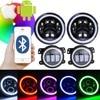 Marloo RGB Headlight Set 7 Inch Headlight With 4 Fog Lights Front Bumper Light Bluetooth App