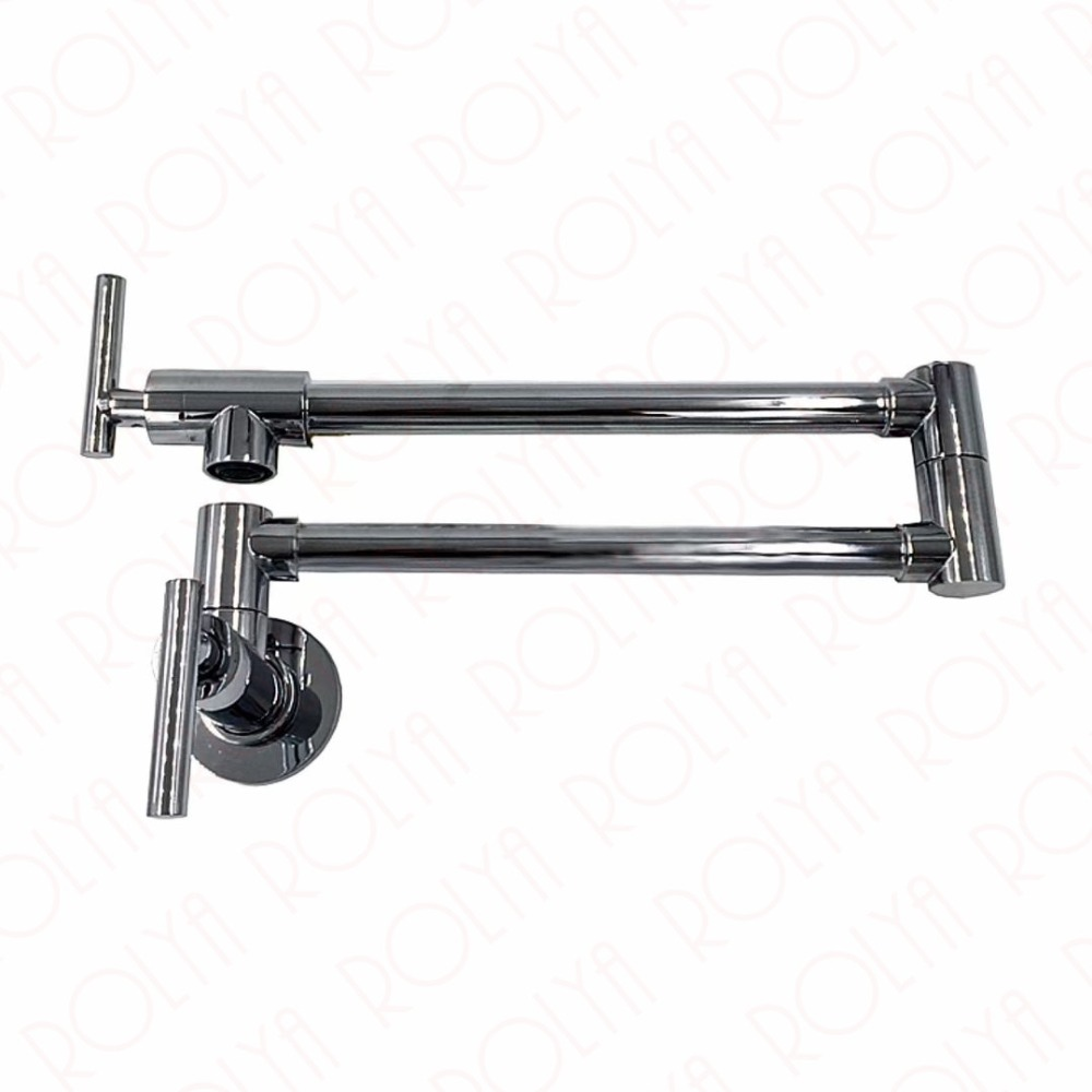 Single Cold Pot Filler Tap Wall Mounted Kitchen Faucet Chrome Nickel Brushed / Alba Black 2017 Wholesale New Arrival free shipping matte black wall mounted pot filler folding 2 handles single cold water kitchen faucet tap sf915