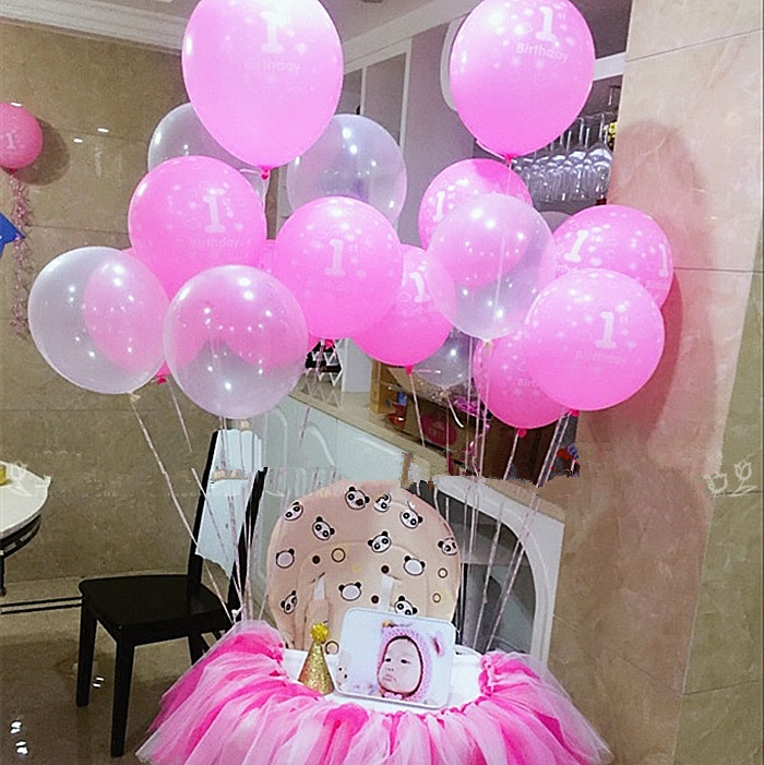 10pcslot happy birthday party decorations Pink girls number 1st birthday latex balloons baby shower party supplies clear balls