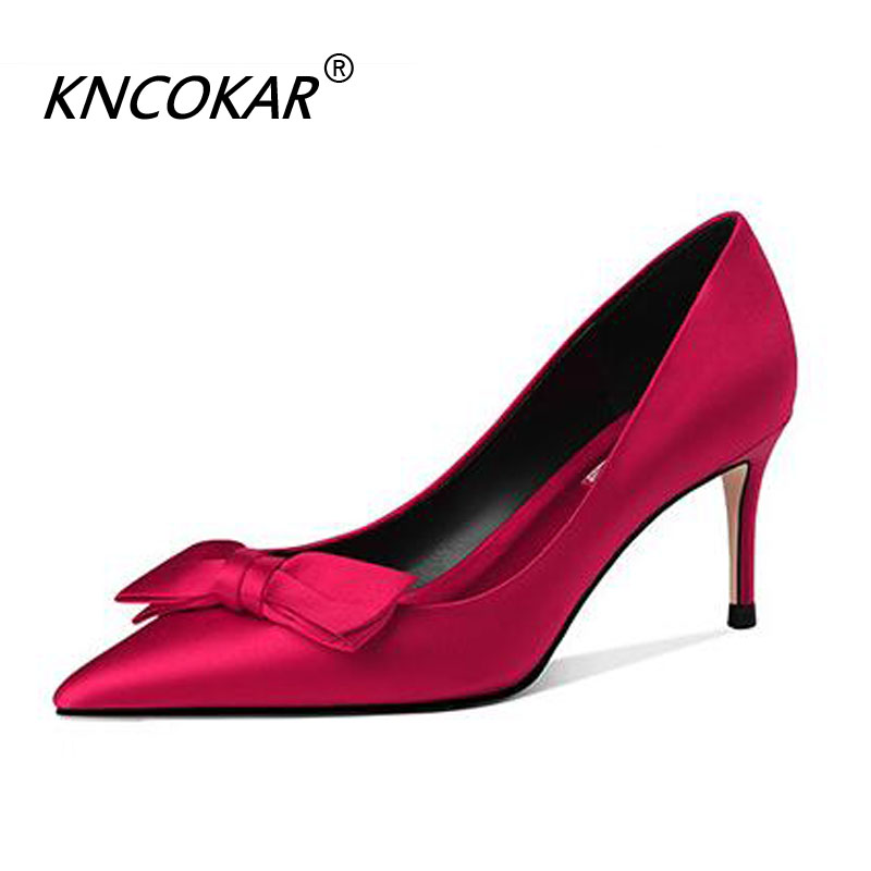 KNCOKAR Summer New Fashion Pointed High-End Bridal Shoes Silk Satin Bowknot Shallow Mouth Womens High Heels Thin HeelsKNCOKAR Summer New Fashion Pointed High-End Bridal Shoes Silk Satin Bowknot Shallow Mouth Womens High Heels Thin Heels