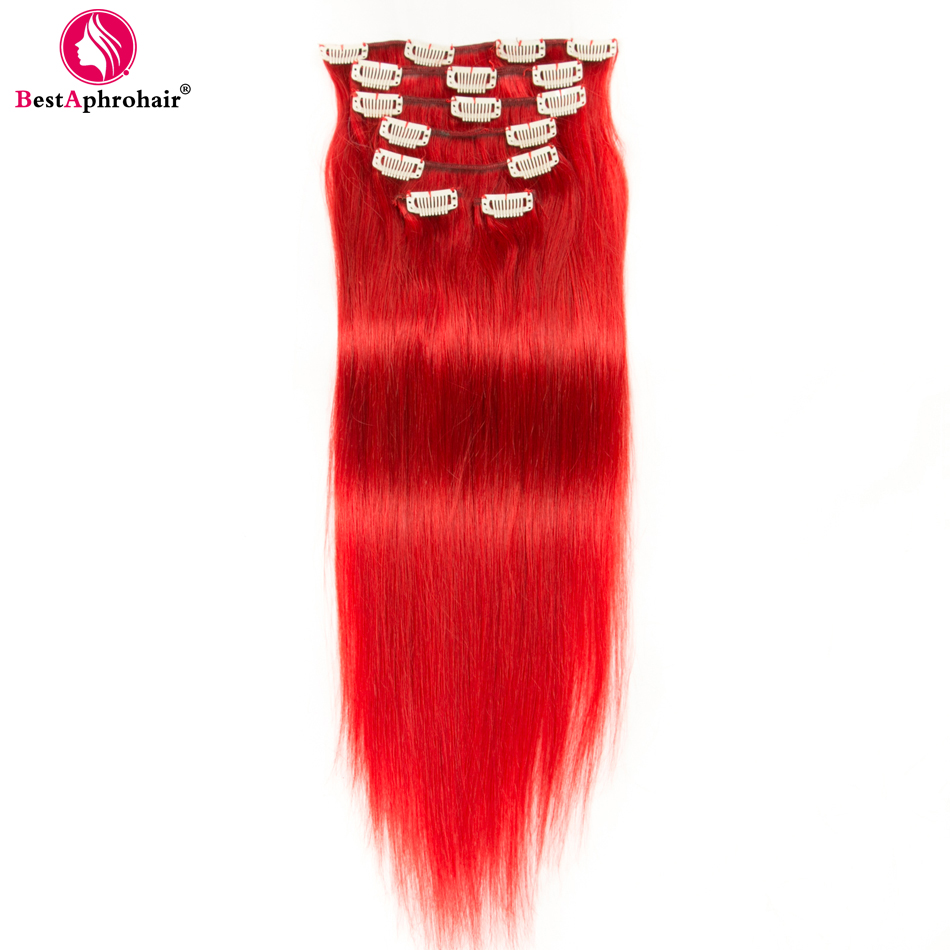 Clip-in Full Head Hair Extensions Aphro Hair Non-remy Clip In Hair Extensions Peruvian Straight Hair 100% Human Hair 7pcs/set 70g Thick Clips Ins #1#1b#2#4#27#red An Indispensable Sovereign Remedy For Home