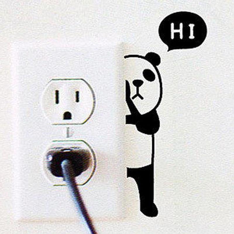 Children Bed Room Cartoon Panda Switch Sticker Waterproof Vinyl Wall Decal Free Shipping A3001