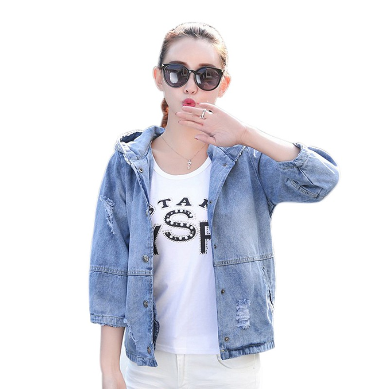 Women Loose Sequin Hooded   Basic     Jacket   Coat Female Coat Fashion Denim   Jackets   3/4 Sleeve Oversized