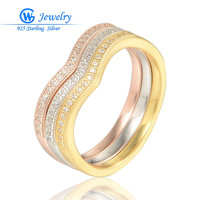 GW Jewellery New Lover Golden Colour Rings With 3 Colors With Rhinestone Ring Ladies Jewelry CZ Stone Silver Ring RIPY030H20