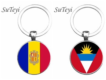 SUTEYI Trendy Flag Art Picture Key Ring Antigua and Barbuda/Andorra Flag Car/Bag Key Chain Dome Glass Keychain Jewellery image