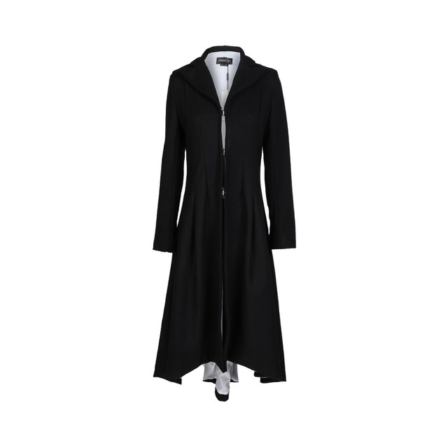 Autumn Winter Women Swallowtail Woolen Long Black Trench 3