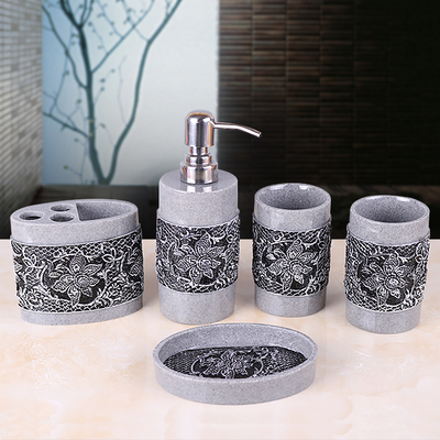 Accessories:  Fashion quality resin bathroom toiletries five-piece bathroom accessories lotion bottle toothbrush holder bathroom products - Martin's & Co
