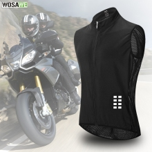 WOSAWE Motorcycle Reflective Vest Windproof Breathable Mesh Fabric Summer moto Motocross Racing Bike MTB Clothing