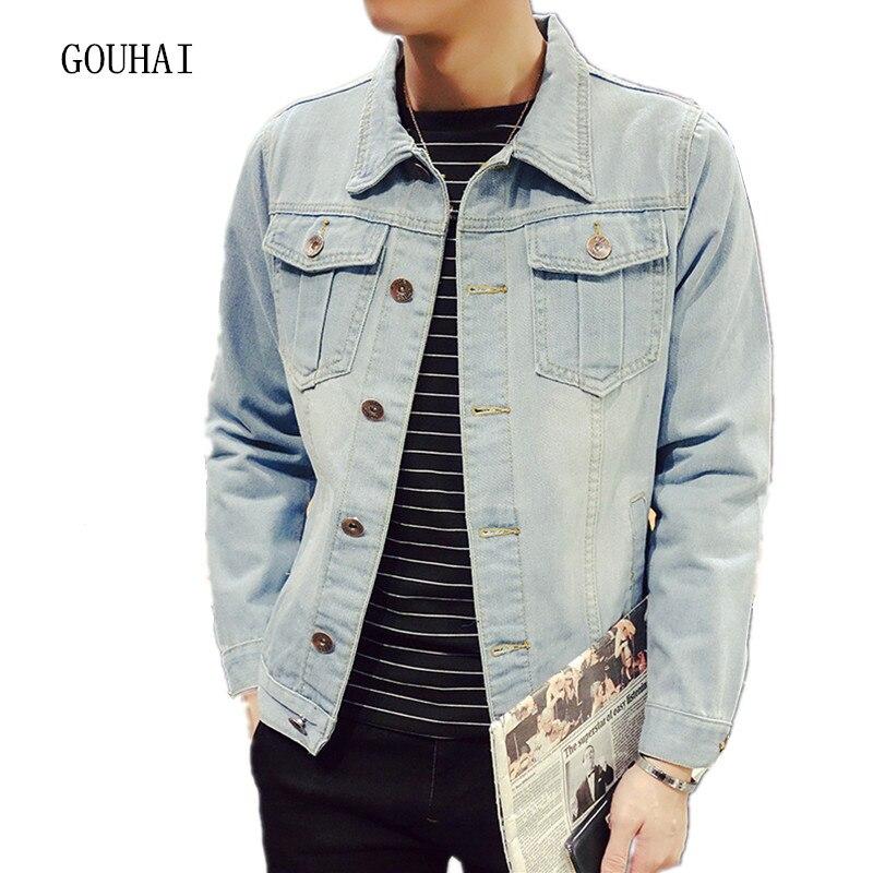 Men's Solid Denim Jacket Slim Male Casual Outerwear Coat Plus Size S-XXXL 4XL 5XL Men Jeans Jacket Casual Cowboy Denim Jacket