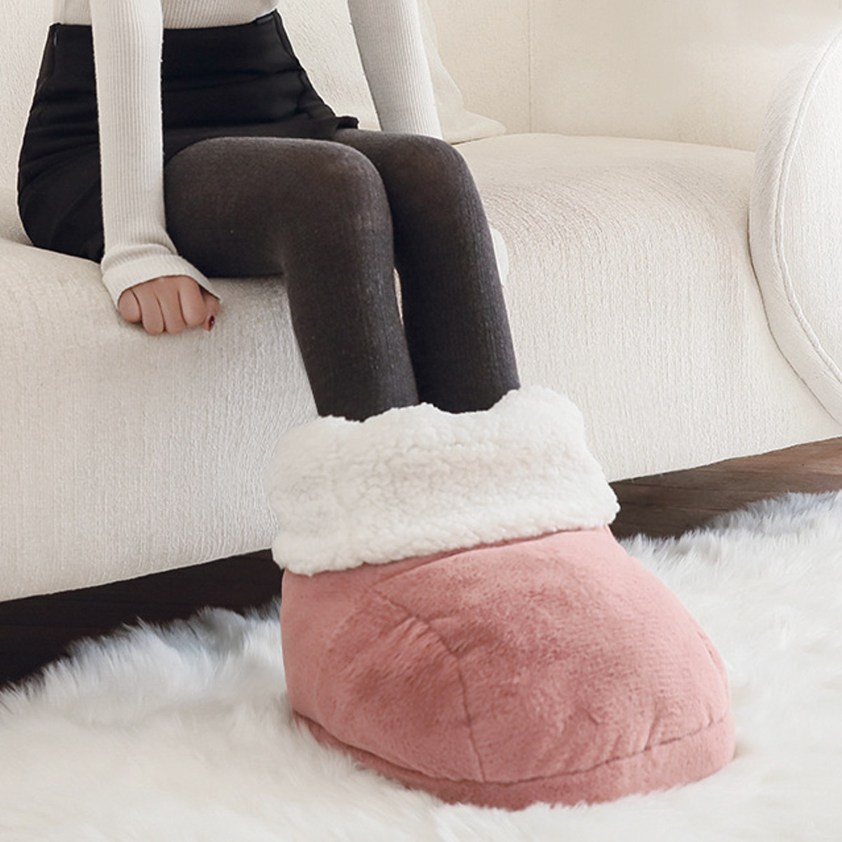 Electric Warm Heating Pad Foot Warmer Feet Shoes Warmer Electric Heat Slippers Warm Hairy Cushion USB Foot Warmer Pink Brown