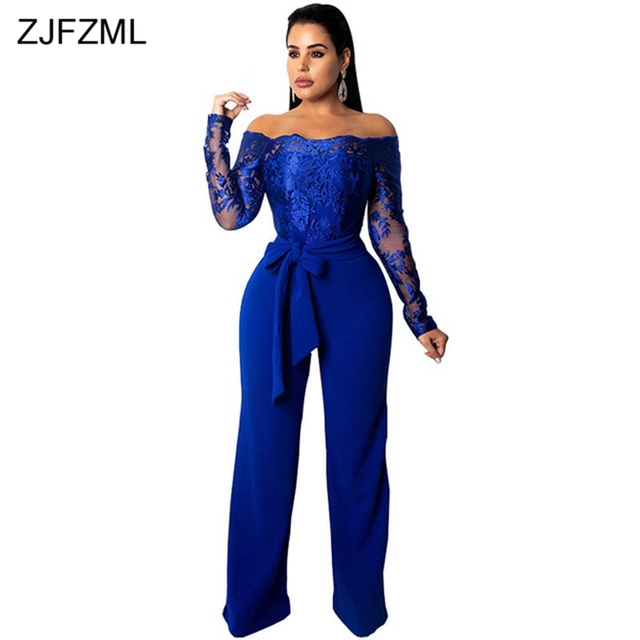 30611dc87b02b ZJFZML Off Shoulder Elegant Rompers Women Jumpsuit Floral Embroidery Sheer  Lace Wide Leg Romper Fall Long Sleeve Belted Overall
