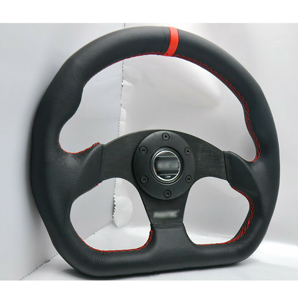 325mm Black Flat PU Leather Universal Fit Sports Racing Drift Steering Wheel