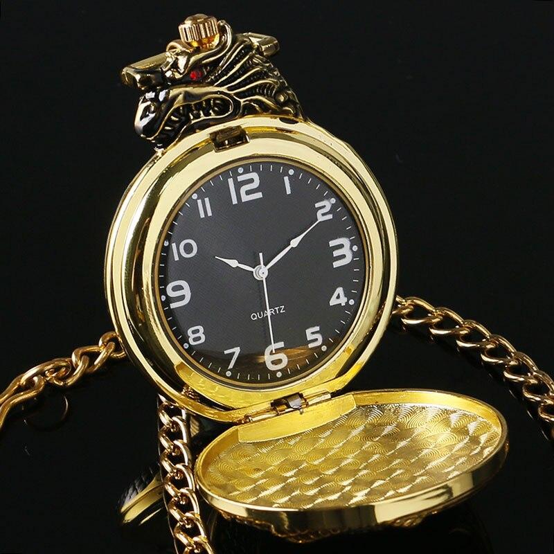 90c2649f7f9 Homens Relógio de Bolso de Ouro Mal Dragão Novo Tom de Ouro do vintage caso  Grande Cristal Vermelho Retro Red Garnet Inset Colar de Luxo presente em ...