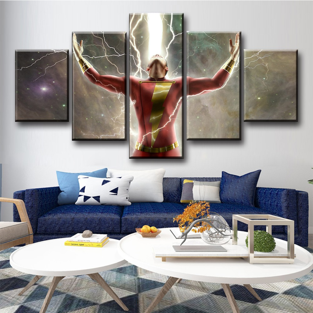 5 Piece HD Movie Poster Pictures Billy Batson Captain Shazam Pictures Canvas Paintings Justice League Wall Art Paintings in Painting Calligraphy from Home Garden