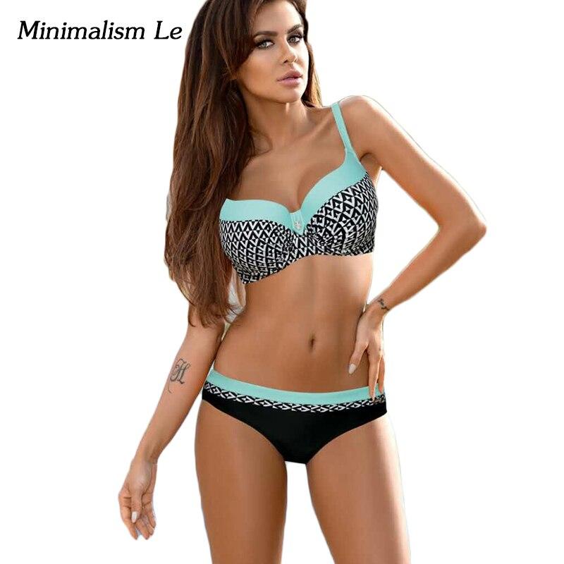 Minimalism Le Patchwork Bikinis 2018 Sexy Swimwear Women Swimsuit Abstract Print Bathing Suits Biquini Monokini Bikini Set