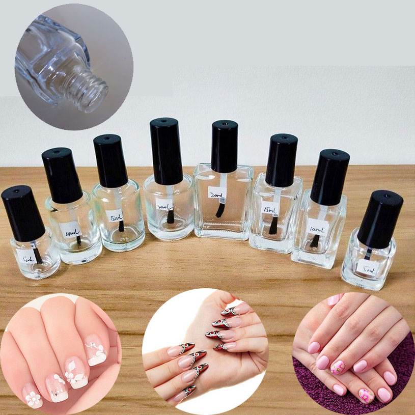 5ml 10ml 15ml Empty Glass Nail Polish Bottle With Brush Nail Oil Glass Container