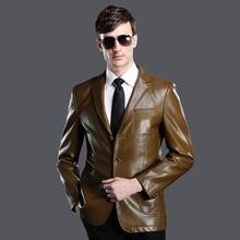 2017 Casual male leather clothing  turn-down collar man quality outerwear real sheep skin leather jacket  abrigo de cuero