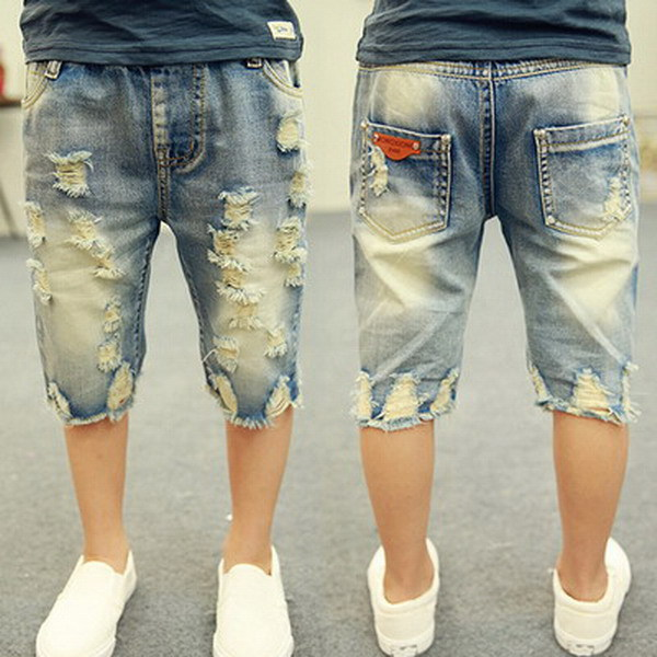 7712f1ef0 2018 children boys summer casual distressed letters pockets washed denim  shorts pants 3-8 years !