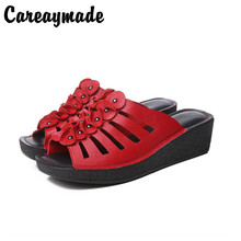 Careaymade-New Ethnic Style Leather Ladies Slippers with High Slope heel and Thick Bottom,Fish Mouth Hollow-out Cowskin slippers ethnic style women s crossbody bag with hollow out and color matching design