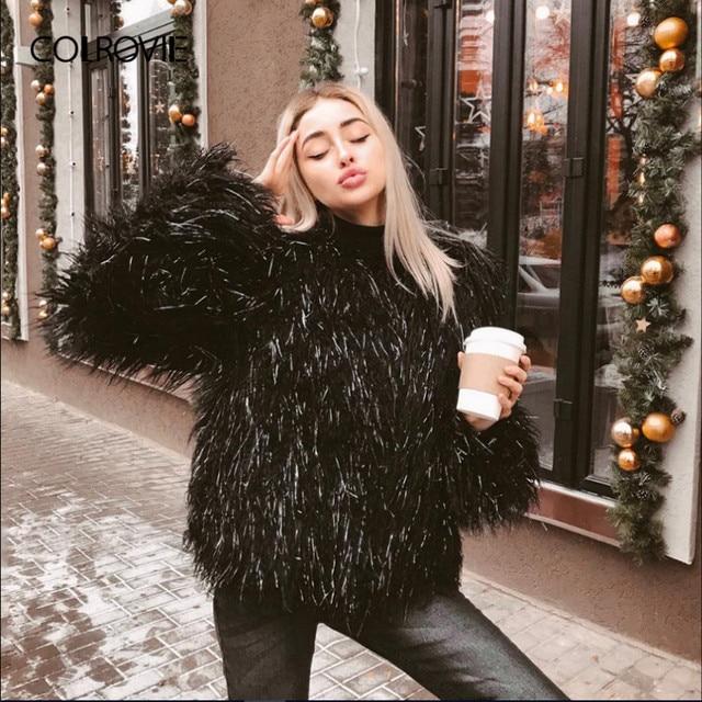 7971ed4822826 COLROVIE Black Open Front Streetwear Crop Winter Faux Fur Jacket Coat 2018  Autumn Fashion Office Warm Outerwear Womens Clothing