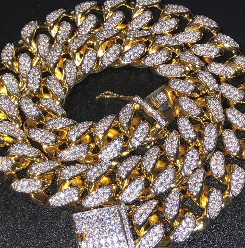 TOPGRILLZ Hip Hop Men's Maimi Cuban Link Chain Necklace Silver Gold Color Iced O