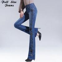 Autumn High Waist Embroidered Flare Jeans Woman High Waist Denim Pants Womens Plus Size Patchwork Bell