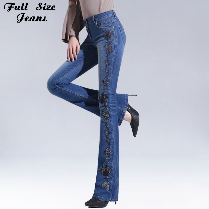 Autumn High Waist Embroidered Flare   Jeans   Woman High Waist Denim Pants Womens Plus Size Patchwork Bell-Bottom   Jean