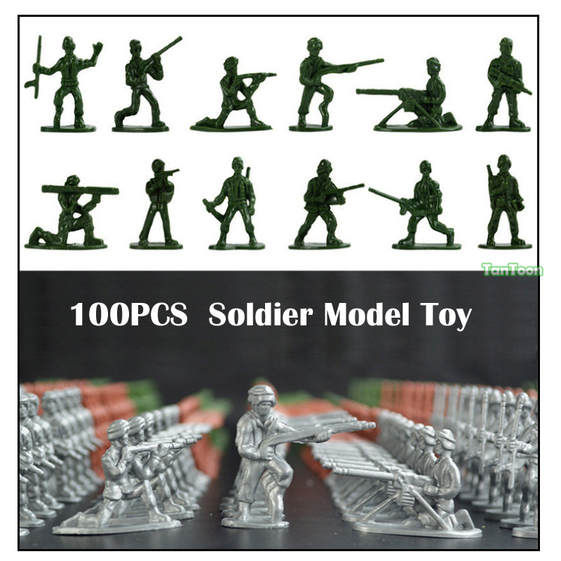 100 Pack Assorted 2 Inch Toy Plastic Army Men Figurines