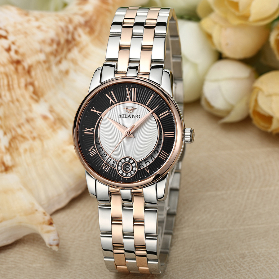 Brand AILANG Vintage Women Roman Statement Watches Office Lady Full Steel Auto Mechanical Dress Clock Calendar Relojes NW7194