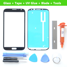 For Samsung Galaxy Note 2 N7100 N7105 Front Glass lens Screen Replacement Repair Kit BLACK White +UV LOCA Glue+Blade +Tape+Tools