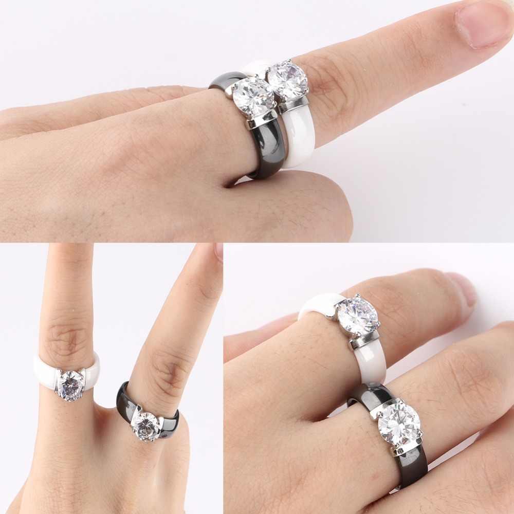 6 มม. สีขาวสีดำแหวนเซรามิค Plus Cubic Zirconia สำหรับผู้หญิงสแตนเลสงานแต่งงานแหวนหมั้นเครื่องประดับไม่เคย fade