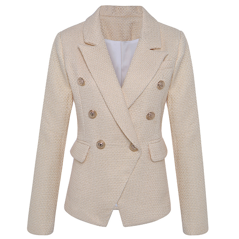 New Gold Tweed Women Blazer Autumn Winter Double Button Office Ladies Suit Jacket Female Office Slim