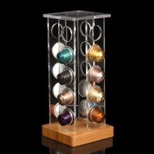 1PC Transparent Acrylic Coffee Pod Holder Rack Capsule Storage Stand Bamboo Base for 20pcs Nespresso Capsule