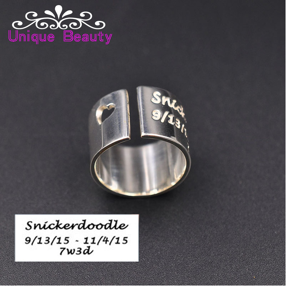 Wholesale Sterling Cuff Ring Wide Band Custom Handwritten Words Stamp Personalized Engraved Ring Heart Ring