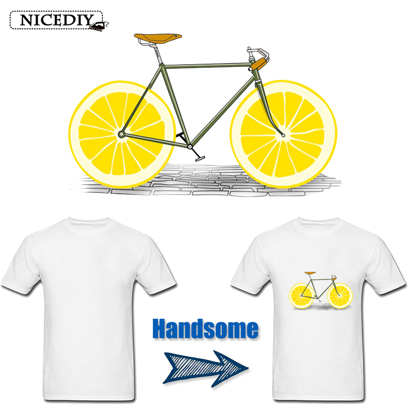 Nicediy Fashion Lemon Bicycle Patch Heat Transfer For Clothing Thermal Transfer Press Iron on Transfers Washable Applique Badge in Patches from Home Garden
