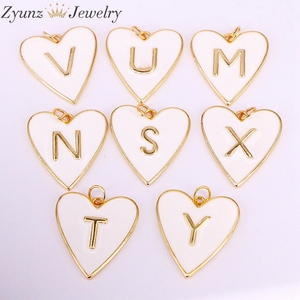 Image 3 - 10PCS, Gold Color White Enamel with Letter Pendant Necklace New Party Fashion Jewelry for Woman