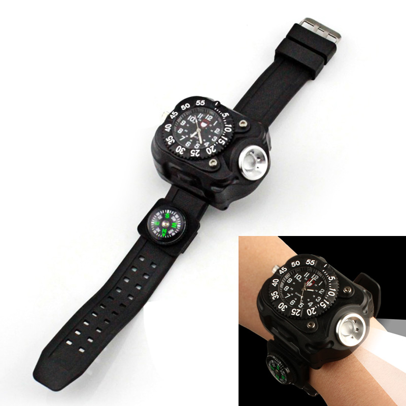 Beautiful Multifunction Usb Rechargeable Wristwatch Lamp Wrist Led Flashlight Watch Light With Compass Bracelet Torch For Night Running Security & Protection