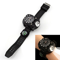 3 In 1 Bright Watch Light Flashlight With Compass Outdoor Sports Mens Fashion Waterproof LED Rechargeable