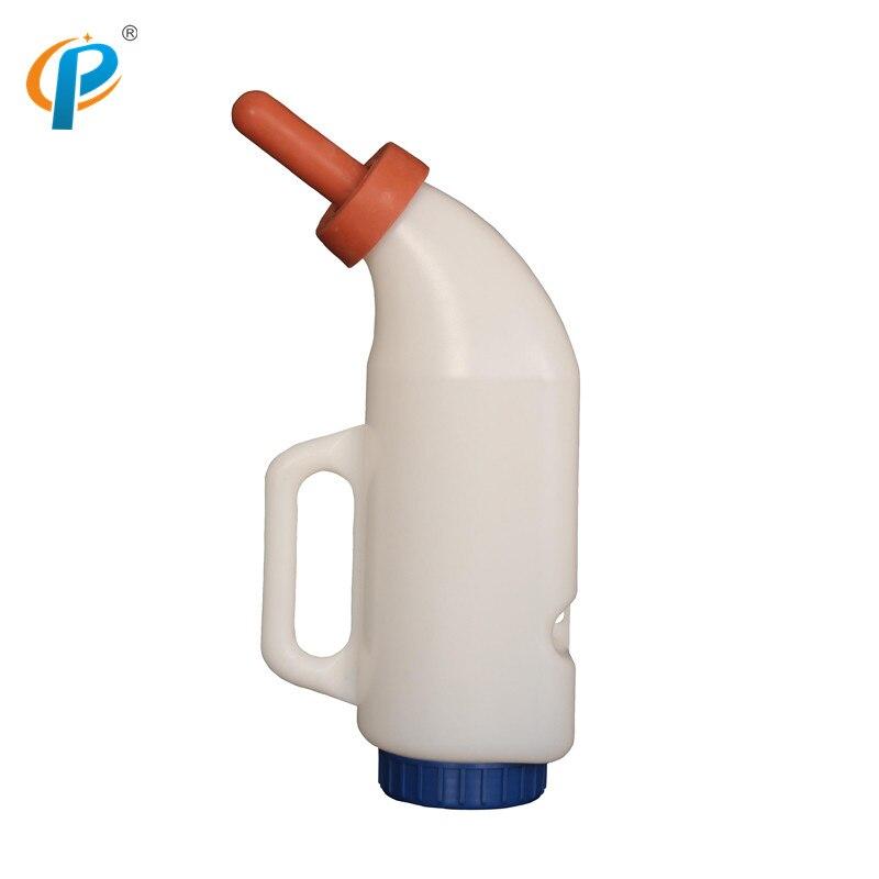 Garrafa plástica do leite da alimentação da vitela de 2 litros com punho para o uso animal do leite de alimentação