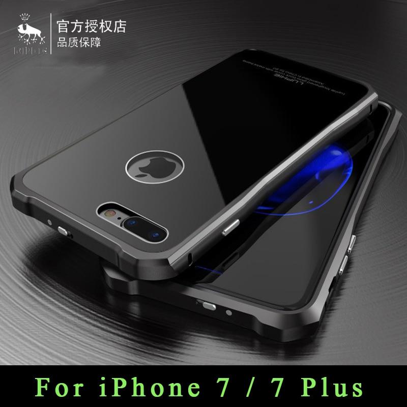 imágenes para Marca Luphie Original Para iPhone 7 Cubierta de Lujo Armadura Del Metal De Aluminio marco + Vidrio Templado de La Contraportada Para el iphone 7 más casos