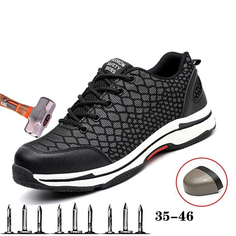 New Men's Safety Work Shoes Anti-smashing Steel Head Cover Kevlar Midsole Anti-piercing Ladies Work Shoes Safety Sneakers