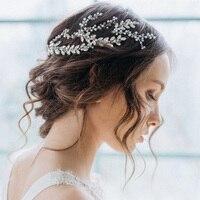 แต่งงานโรแมนติกBige Rhinstoneใบดอกไม้ถักถักแบบคาดศีรษะสีขาวh airband