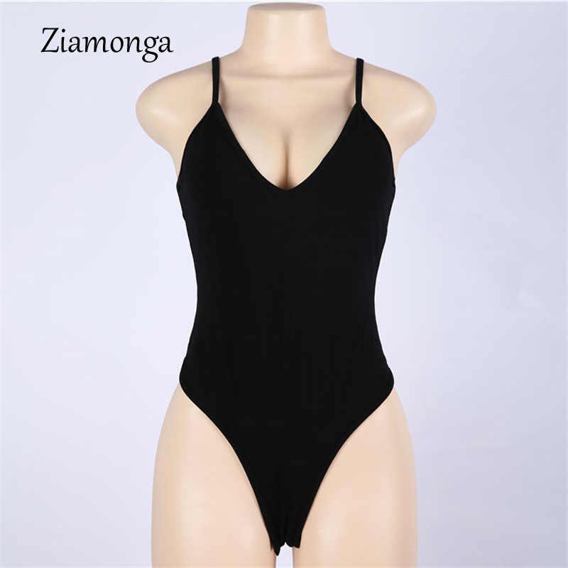 Ziamonga Черный боди женщин комбинезон сексуальные комбинезон Спагетти ремень тела костюм без рукавов хлопок Боди женские Combinasion Femme