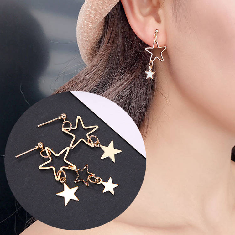 Trendy Fresh Temperament Hollowed Out Star Small Ear Nail Asymmetric Earring Girl Simple Long Style Studs Earring