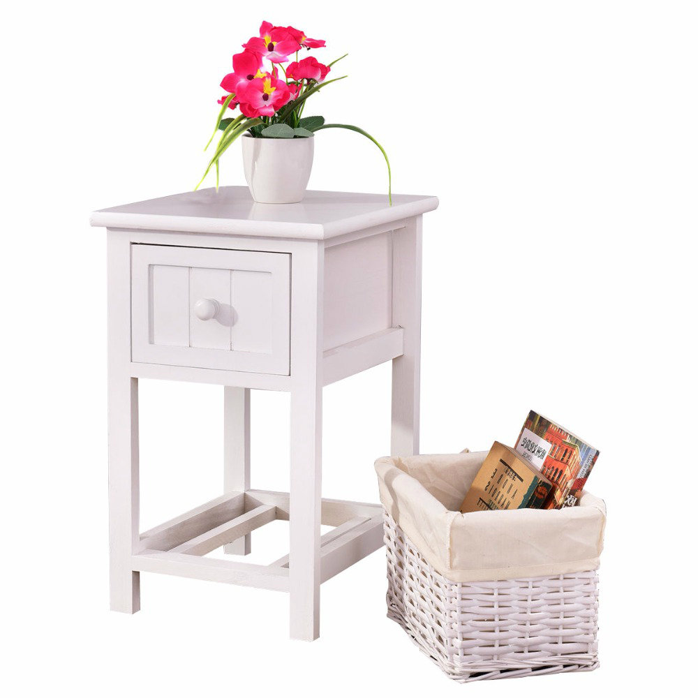 2 Layers White Bedside Table Nightstand W/Wicker Storage 1
