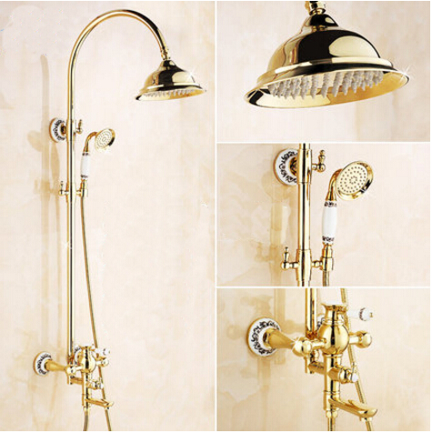 Wholesale And Retail Luxury Gold Brass Shower Faucet Set Single Ceramic Handle BathTub Mixer Set Hand Shower wholesale and retail 20pc 9pin gold plated ceramic tube socket audio accessories rs1003 f3a amplifier free shipping