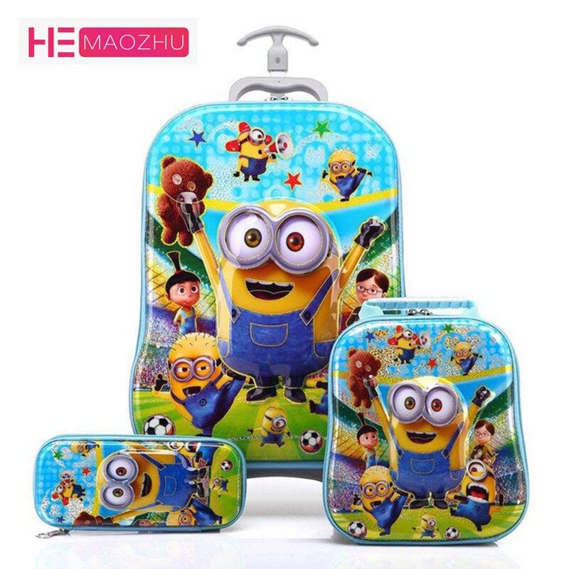 Nouveau 3D Enfants Roulant sacs d'écolier Fille de Garçon de boîtier de chariot Enfants valise de voyage École de Mochila Enfant sacs trolley cartable