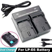 LP-E6 LP E6 LPE6 Digital battery Dual Charger for Canon EOS 5DS 5D Mark II Mark III 6D 7D 60D 60Da 70D 80D DSLR EOS 5DSR Camera 2600mah lp e6 lp e6 digital camera battery usb charger for canon eos 5d mark ii 2 iii 3 6d 7d 60d 60da 70d 80d dslr eos 5ds