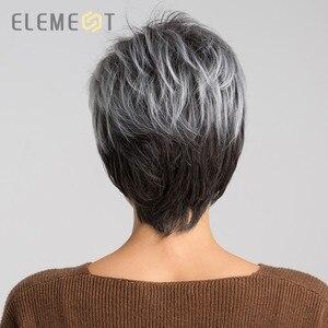 Image 2 - Elemento 6 pulgadas sintético corto recto gris mezcla de pelucas de Color blanco línea pelucas de pelo Natural de trabajo de fiesta para mujeres blancas/negras
