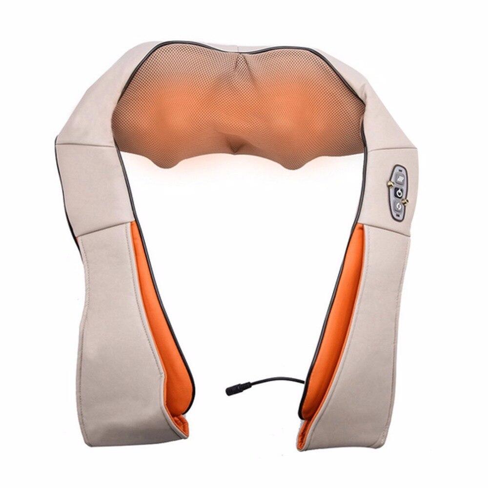 Heating Type Car Home Use Kneading Massage Shawl Vertebra Massage Device Car Household Massager 4D Neck Massager Tool EU Plug